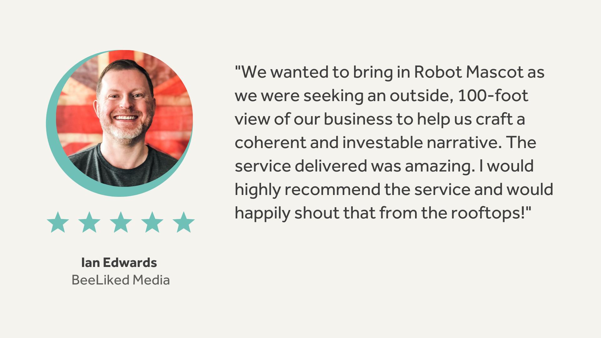 Robot Mascot   BeeLiked Testimonial